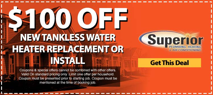 discount on new tankless water heater replacement or install